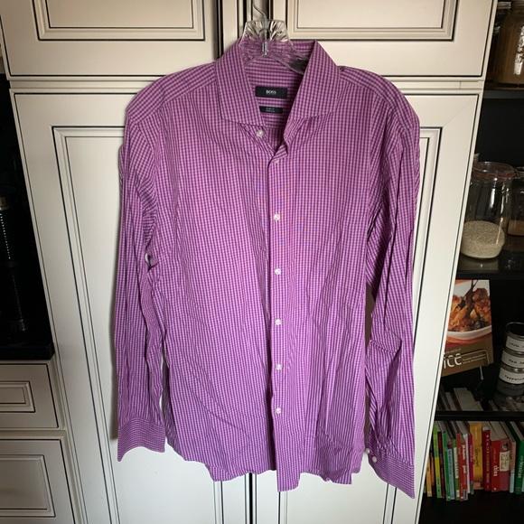 Hugo Boss Shirt 42/16.5 Purple White Slim Fit